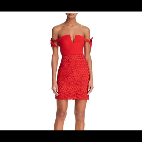 f8f17a811f7 Red stylestalker off shoulder dress bloomingdales